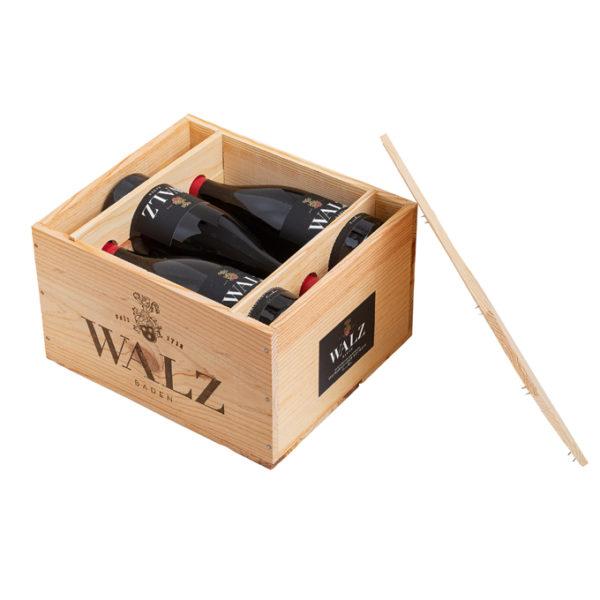 Holzkiste für 6 Flaschen Römerberg Spätburgunder Flaggschiff Weingut Josef Walz Heitersheim