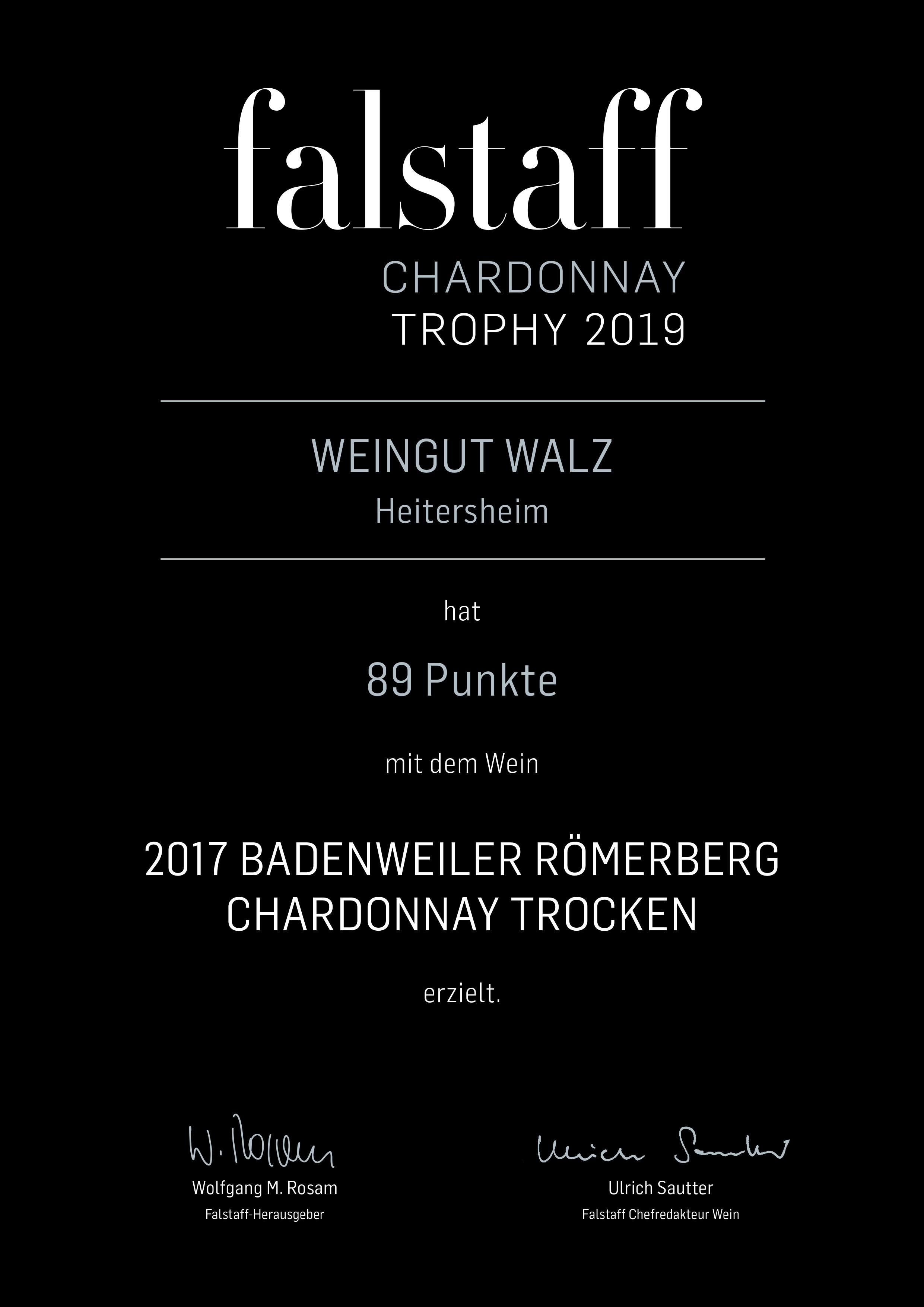 falstaff Chardonnay Trophy 2019 Urkunde Weingut Josef Walz