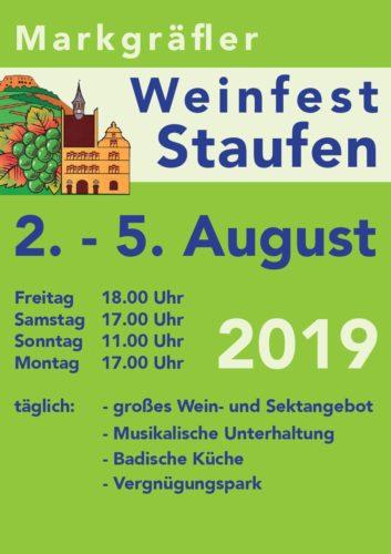 Weinfest Staufen Flyer 2019